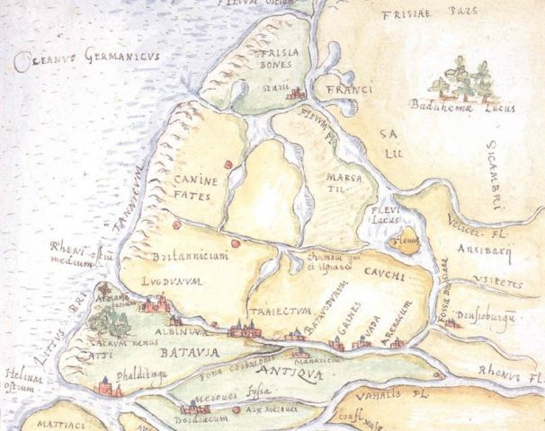 Map of the Netherlands in Roman times. Drawing by Utrecht lawyer and antiquity expert Arnoldus Buchelius (1565 - 1641).