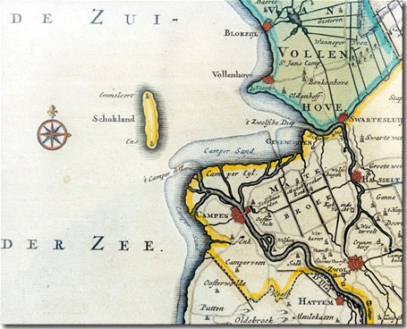 Map IJsselmonding/Schokland 18th century