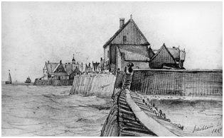 Above, a drawing of Schokland with gangway, circa 1845.